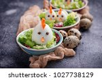 salad with eggs in shape of... | Shutterstock . vector #1027738129