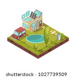 campsite and mobile house with... | Shutterstock . vector #1027739509