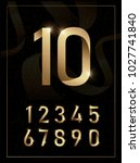 elegant golden metal numbers. 1 ... | Shutterstock .eps vector #1027741840