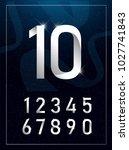elegant silver metal numbers. 1 ... | Shutterstock .eps vector #1027741843