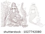 mermaids on the seabed page.... | Shutterstock .eps vector #1027742080