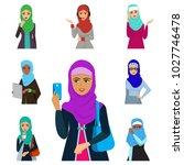 arabic woman adult character... | Shutterstock .eps vector #1027746478