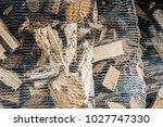 heating wood in a sack prepared ... | Shutterstock . vector #1027747330