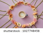 cup of coffee in a round frame... | Shutterstock . vector #1027748458