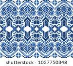ikat seamless pattern. vector... | Shutterstock .eps vector #1027750348