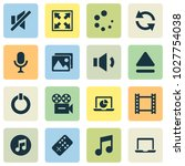 multimedia icons set with widen ... | Shutterstock .eps vector #1027754038