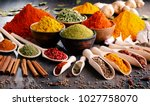 variety of spices and herbs on... | Shutterstock . vector #1027758070