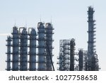 a large oil and gas refinery in ... | Shutterstock . vector #1027758658