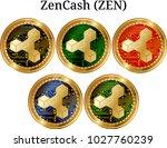set of physical golden coin... | Shutterstock .eps vector #1027760239