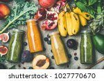 flat lay of colorful smoothies... | Shutterstock . vector #1027770670
