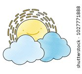 grated kawaii happy sun with... | Shutterstock .eps vector #1027771888