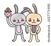 grated rabbit couple with hands ... | Shutterstock .eps vector #1027771900