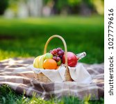 picnic basket with fruits  food ... | Shutterstock . vector #1027779616