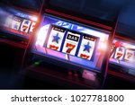 3D Casino Slots Concept. 3D Illustration of Three Slot Machines. Casino Games. - stock photo