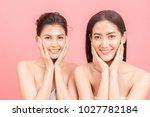 portrait of two beautiful women ... | Shutterstock . vector #1027782184
