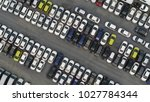 aerial top view of new cars... | Shutterstock . vector #1027784344
