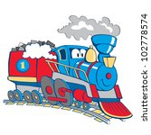 blue,chimney,colors,emblem,engine,fun,happy,icon,illustration,iron,isolated,j�¡t�©k vonat,journey,locomotive,machine
