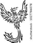 phoenix tattoo isolated on... | Shutterstock .eps vector #1027786078