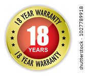 red 18 year warranty badge with ... | Shutterstock .eps vector #1027789918