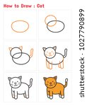 how to draw a cat  step by step ... | Shutterstock .eps vector #1027790899