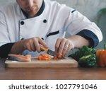 close up master chef slice...   Shutterstock . vector #1027791046