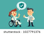 an injured woman wearing cast... | Shutterstock .eps vector #1027791376