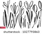 vector set of ink drawing... | Shutterstock .eps vector #1027793863
