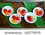 Thai dessert on banana leaf background - stock photo