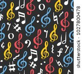 music note seamless pattern... | Shutterstock .eps vector #1027800478