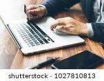 handsome businessman in suit... | Shutterstock . vector #1027810813