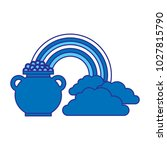 cauldron coins treasure rainbow ... | Shutterstock .eps vector #1027815790