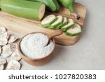 raw and dried green bananas ... | Shutterstock . vector #1027820383