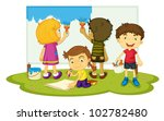 illustration of four children... | Shutterstock . vector #102782480