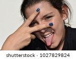goofy girl youngster | Shutterstock . vector #1027829824
