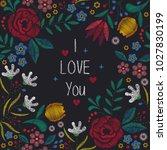floral background in vintage...   Shutterstock .eps vector #1027830199