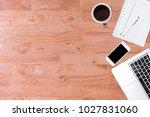 modern office desk wooden table ... | Shutterstock . vector #1027831060