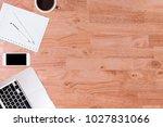 modern office desk wooden table ... | Shutterstock . vector #1027831066