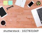 modern office desk wooden table ... | Shutterstock . vector #1027831069