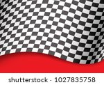 checkered flag wave 3d on red... | Shutterstock .eps vector #1027835758
