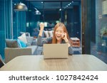 happy asian business woman... | Shutterstock . vector #1027842424