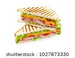 sandwich with ham  cheese ... | Shutterstock . vector #1027873330