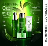 luxury cosmetic bottle package...   Shutterstock .eps vector #1027882873
