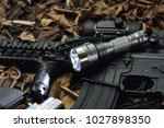 tactical flash light and... | Shutterstock . vector #1027898350