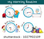 different morning routines at... | Shutterstock .eps vector #1027902109