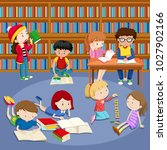 many kids reading books in... | Shutterstock .eps vector #1027902166