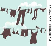 Stock vector vector seamless illustration of clothes hanging out to dry 102790433