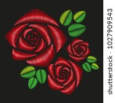 embroidered floral applique....   Shutterstock .eps vector #1027909543
