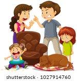 parents fighting in front of... | Shutterstock .eps vector #1027914760
