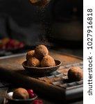 chocolate truffle. dark... | Shutterstock . vector #1027916818