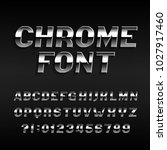 chrome effect alphabet font.... | Shutterstock .eps vector #1027917460